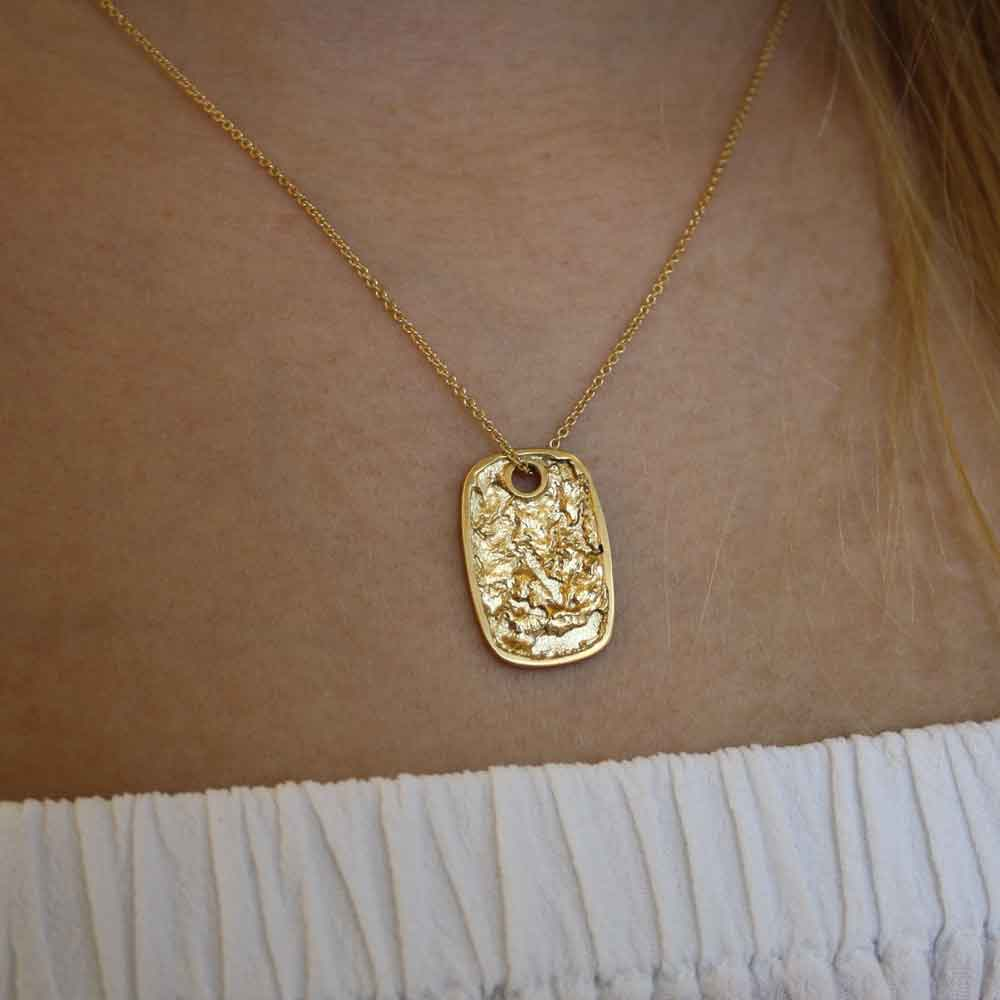 Continent Tag 14k Gold