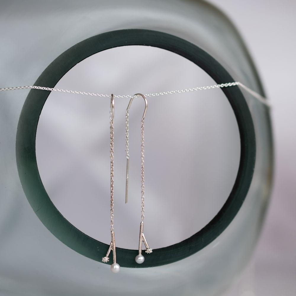 Twig Pearl Hanger Silver