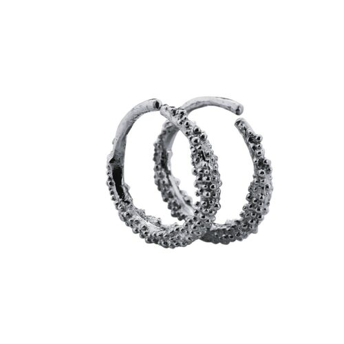 Sparkling Hoop Small Oxidised Silver