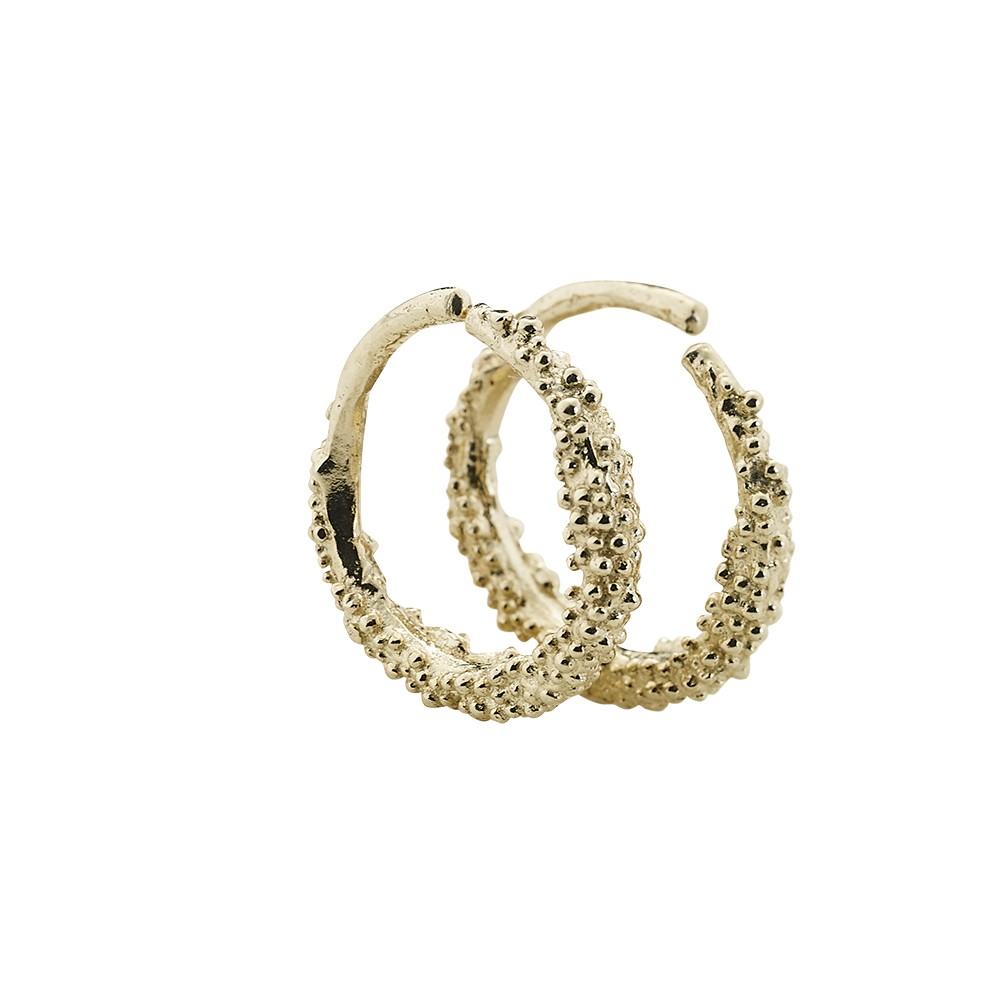 Sparkling Hoop Small Gold Plated
